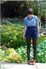 Blue-blouse-brown-belt-blue-shorts-blue-stockings-brown-shoes