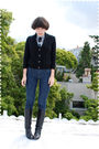 Black-cardigan-blue-blouse-blue-jeans-black-boots