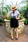 Brown-hat-blue-blouse-black-american-apparel-skirt-beige-tabio-stockings-