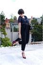 Blue-blouse-black-pants-black-purse-purple-shoes-black-sunglasses