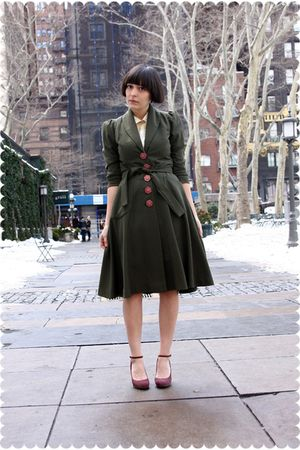 green coat - beige BB Dakota blouse - purple Nine West shoes