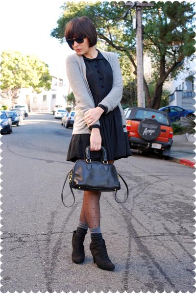 gray JCrew cardigan - black Erin Fetherston for Target dress - black Tabio stock