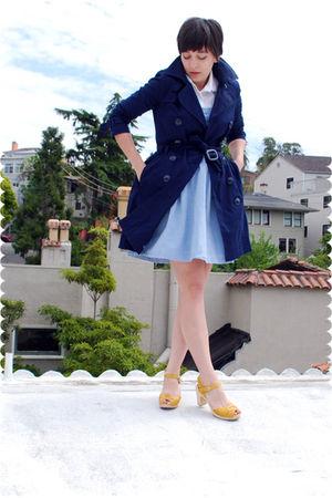 blue dress - yellow shoes - white blouse