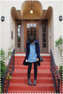 Blue-coat-blue-blouse-black-jeans-gray-socks-brown-shoes-black-purse