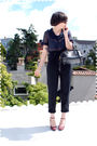 Blue-blouse-black-pants-black-purse-purple-shoes-black-sunglasses