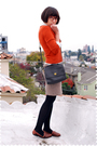 Orange-sweater-white-blouse-brown-steven-alan-skirt-black-wolford-stocking