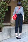 Blue-rodarte-for-target-shirt-black-zara-pants-black-kork-ease-shoes-red-r