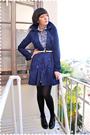 Blue-h-m-coat-blue-dress-beige-loulou-de-falaise-for-hsn-belt-black-wolfor