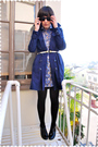 Blue-h-m-coat-blue-dress-beige-loulou-de-falaise-for-hsn-belt-black-wolfor