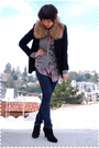 Brown-accessories-black-jcrew-blazer-gray-jcrew-cardigan-purple-levis-blou