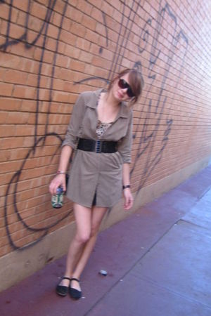 black Urban Outfitters shoes - Lily White blouse - green silence and noise dress
