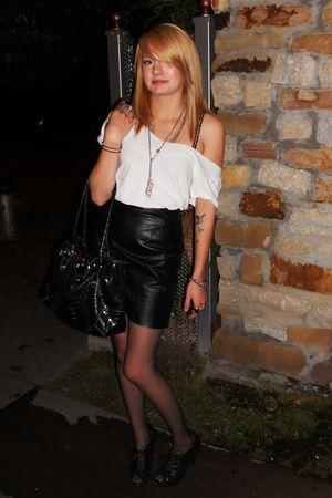 white Hanes skirt - black thrifted skirt - black purse - black Target shoes - br