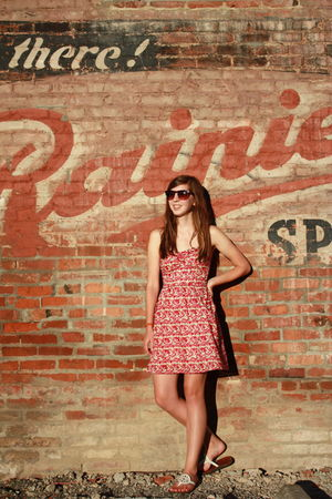 pink dress - brown bracelet - brown sunglasses - white shoes