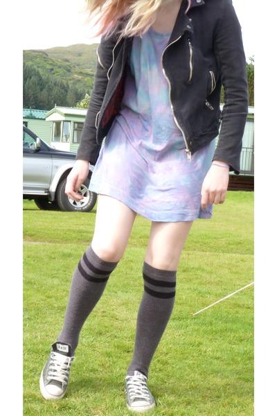 3096e2a54a3218 biker jacket - tie dye H M dress - knee high Asda socks - Converse sneakers