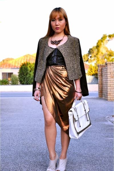 bronze assymetrical asos skirt - camel formal Temt jacket