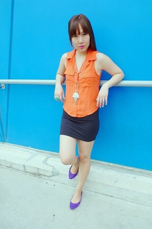 carrot orange blouse - black bandage supre skirt - purple suede Big W flats