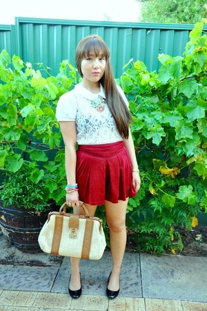 white lace Valleygirl blouse - black K-mart shoes - camel Forever New bag