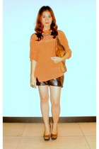 carrot orange Forever 21 top - tawny cotton purse