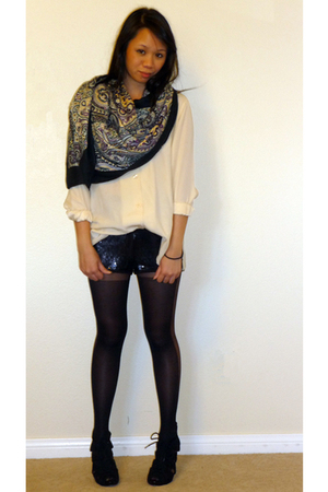 blouse - Forever 21 shorts - H&M scarf - Forever 21 stockings - Steve Madden sho