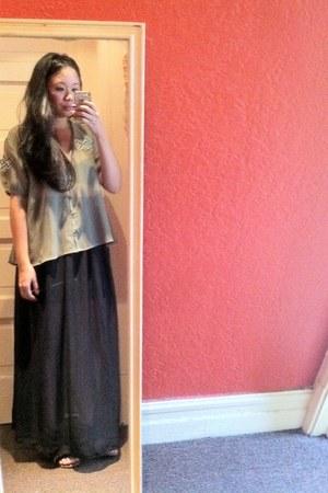 black chiffon maxi American Apparel skirt - gray Kimchi Blue blouse