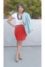 Blue-h-m-jacket-red-unknown-brand-dress-white-h-m-shirt-brown-target-belt-