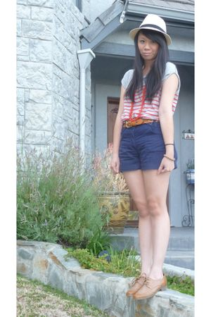 gray Zara shirt - blue H&M shorts - brown Target belt - brown Forever 21 shoes -