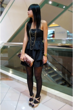 black stockings - beige shoes - black cotton on dress