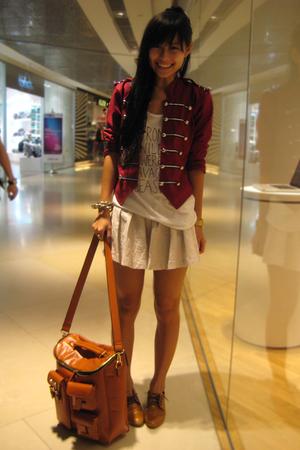 beige f21 skirt - brown bag Charles & Keith accessories