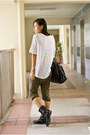 White-cotton-on-shirt-olive-green-zara-pants-black-mphosis-bag