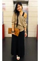 white Vincci sandals - black new look dress - gold Michael Kors watch