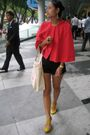 Red-stylestalker-coat-black-cotton-on-shorts-yellow-schu-shoes-white-kikki