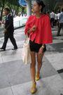 Red-stylestalker-coat-black-cotton-on-shorts-yellow-schu-shoes-white-kikki
