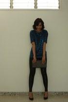 black Zara leggings - navy sequins Zara shirt - black unknown purse