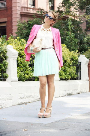 aquamarine luluscom skirt - hot pink H&M blazer - white luluscom bag