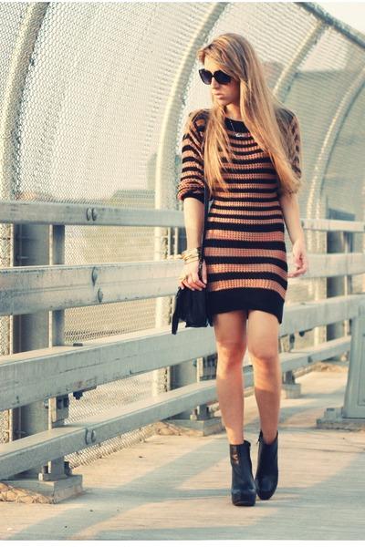 bronze lucca couture dress - black Dollhouse boots - black BCBGeneration bag