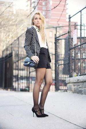 black Zara blazer - white Chicwish shirt - black Chanel bag