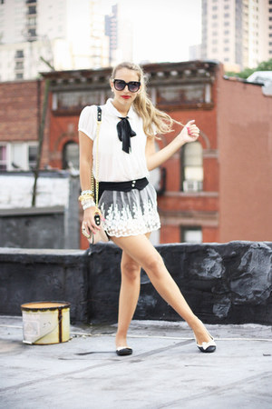white Forever 21 shirt - neutral Aldo bag - black OASAP shorts