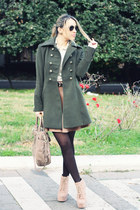dark green Forever21 coat - camel Jeffrey Campbell boots - light brown Prada bag