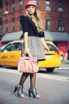 bubble gum Miu Miu bag - gray Eri De Sign boots - bubble gum H&M hat