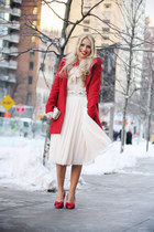 red Bershka coat - eggshell H&M shirt - off white Accessorize bag