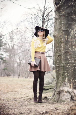 brown Forever21 skirt - dark brown Georgia Rose boots - dark brown H&amp;M hat