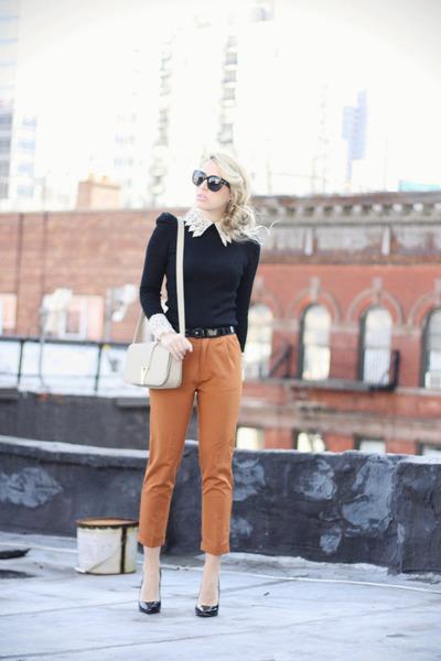 black Sheinside shirt - beige YSL bag - tawny nowIStyle pants