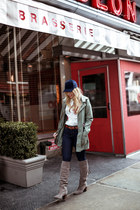 army green Chicwish jacket - tan Dr Schools boots - navy Zara jeans