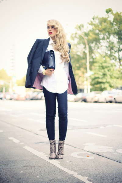 tan SuperTrash boots - navy Zara jeans - white Hugo Boss shirt