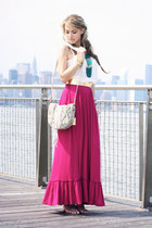 magenta Forever21 dress - beige Remi&Emmy bag - white H&M top