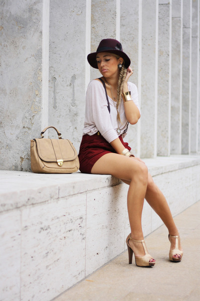 crimson H&M hat - nude H&M bag - crimson Forever21 shorts