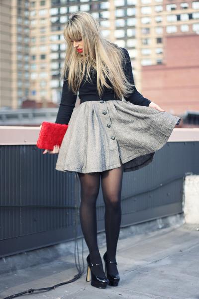 red H&M bag - heather gray necessary clothing dress - black Zara cardigan
