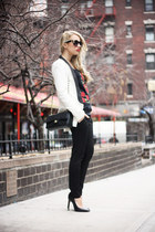 black Chanel bag - white SuperTrash blazer - black DIY sunglasses