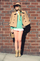 nude Felmini boots - nude Forever21 coat - nude Forever21 hat