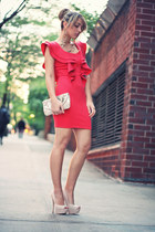 hot pink necessary clothing dress - neutral accessories bag